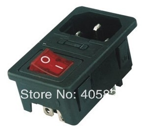 AC power socket fuse switch ac inlet AS 10 with Rocker switch Lamp KCD1 104N