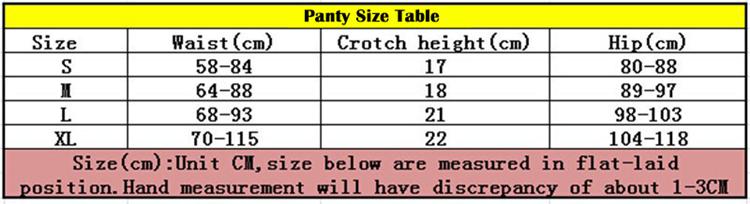 bra set panty size table_