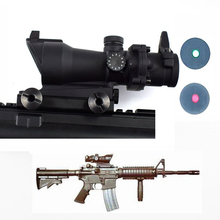 Optics Sight ACOG 1X32 Red Green Dot Rifle Scope Tactical Riflescope For Hunting Shooting 20mm Weaver Rail Rifle Scope Air Gun hunting riflescope tactical acog 4x32 real fiber source red illuminated rifle scope camouflage