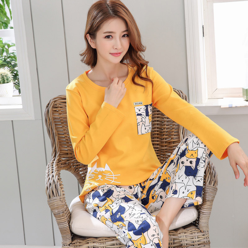 Yidanna Women   Pajamas     Set   Cute Cartoon Sleep Clothing Long Sleeved Autumn Sleepwear Casual Female Nightwear Lady Cotton Nighty