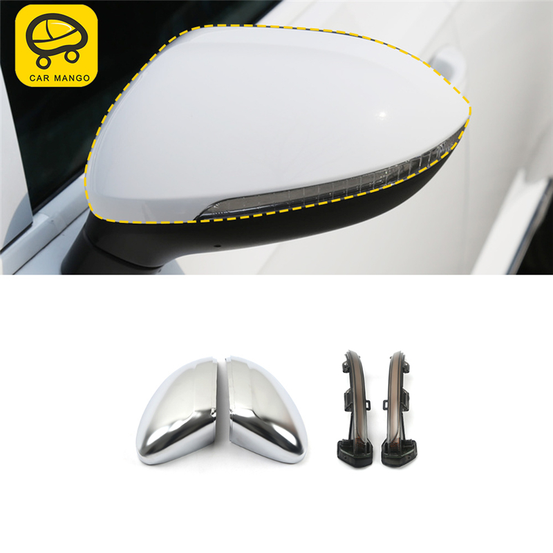 CAR MANGO Car Styling Rearview Mirror Light LED Protector Cover Trim Sticker Interior Accessories for VW Arteon CC