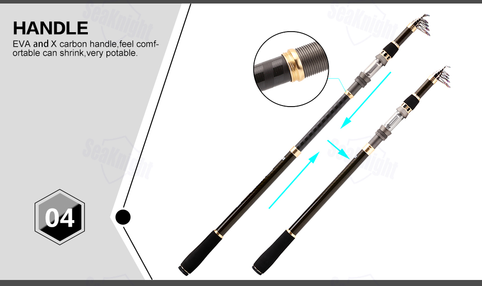 SeaKnight DAGON Telescopic Fishing Rod 1.8M 2.1M 2.4M 2.7M 3.0M 3.6M 98% Carbon Fiber Rod Travel Rod 30-50g Carp Fishing Pole 15