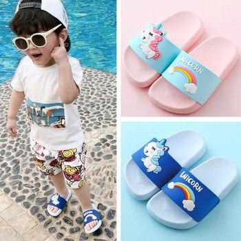 Zapatillas de verano para niña con diseño de arco iris de unicornio y dibujos animados, chanclas de baño para el hogar, sandalias para niños al aire libre, zapatos de playa para niños