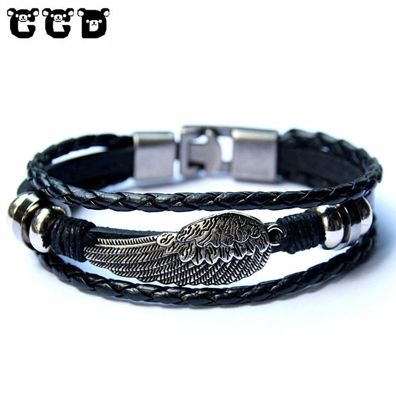 Hot sale 2018 Fashion Leather Wing Anchor Bracelet for Men Male Charm Bracelets & Bangles Women Friend Gift Party PUNK Jewelry image