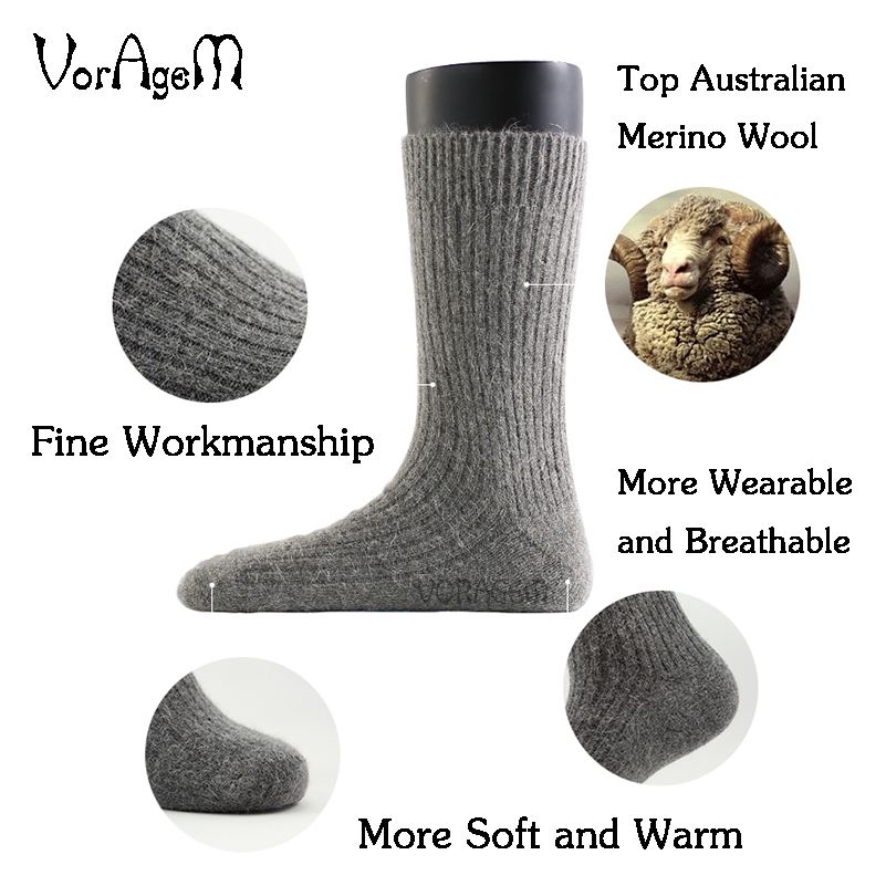Underwear ... Men's Socks ... 32213037918 ... 3 ... New Men's Super Thick Merino Wool Socks High Quality Big Size Men Wool Socks Soild Color Brand Winter Warm Wool Socks 3pair=1lot ...