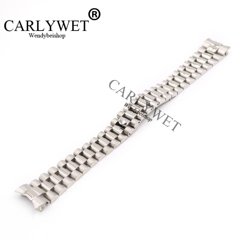 CARLYWET 20mm Silver Black Middle Gold Solid Curved End Screw Link Stainless Steel Wrist Watch Band Bracelet For President in Watchbands from Watches