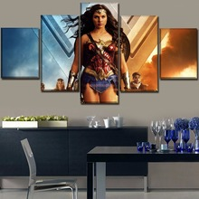 One Set 5 Piece Painting Framework Or Unframed Movies Wonder Woman Picture Modern Wall Art Home Decorative Canvas Printed Poster
