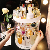 2019 Spring New Listing Dust proof Rotating Makeup Box Skin Care Plastic Storage Holder Lipstick Rack Cosmetic Organizer Ins Hot
