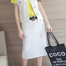 Brand New 2016 Women Summer Washed Hole Denim Slim Straight Skirt Cotton Fashion Thread Design Korean Style Spring A Levs Jeans