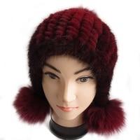 Handmade Russian Women Real Knitted Mink Fur Bomber Hats Fox Fur Pom Poms Winter Lady Caps Fashion Headgear LF6002