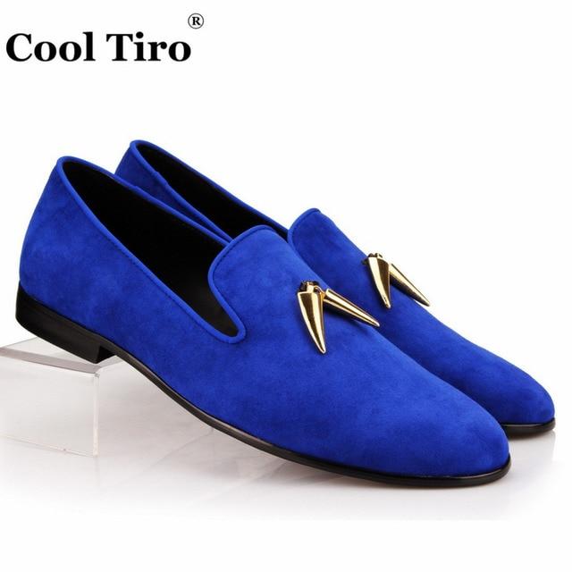 Blue suedette flat loafer shoes ejpbb