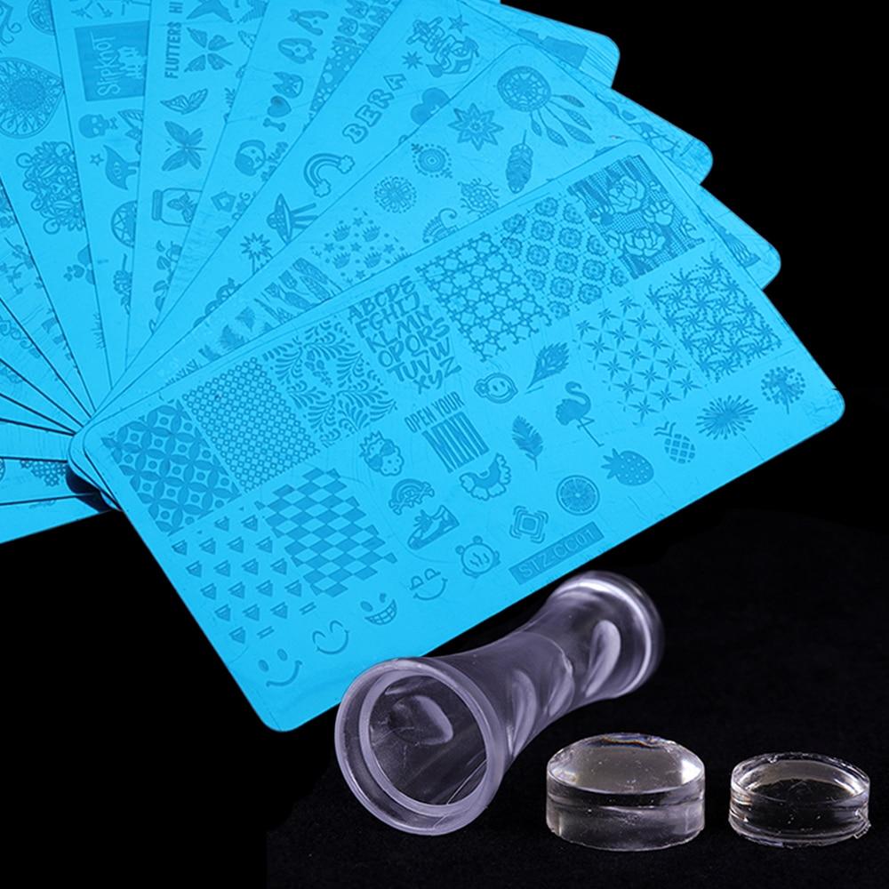 все цены на 10Pcs Laser Nail Stamping Plates Set Flower Dreamcatcher Jewelry Geometric Nail Design Stamps Decor Nail Accessories SASTZ-CC*10