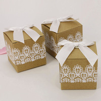 50pcs Festive Party Supplies Heart Candy Box Folded Kraft Paper With Burlap Twine For Wedding Decoration