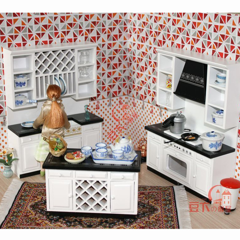 1 12 scale wooden dollhouse miniature kitchen room for House kitchen set