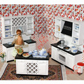1:12 Scale Wooden Dollhouse Miniature Kitchen Room Furniture Set Mini Doll House Cabinet Accessories Toy Gift