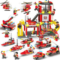 Marine Fire Station Building Bricks Fireman Model City Series Blocks Fire Rescue Role Play Fire Rescue Learning Toys for Boys