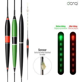 DONQL Luminoso di Smart LED Galleggiante di Pesca Di Alta Sensibilità di Allarme Pesce Bite Cambiamento di Colore Elettronico Boa Pesce Galleggiante Bobber Bastone
