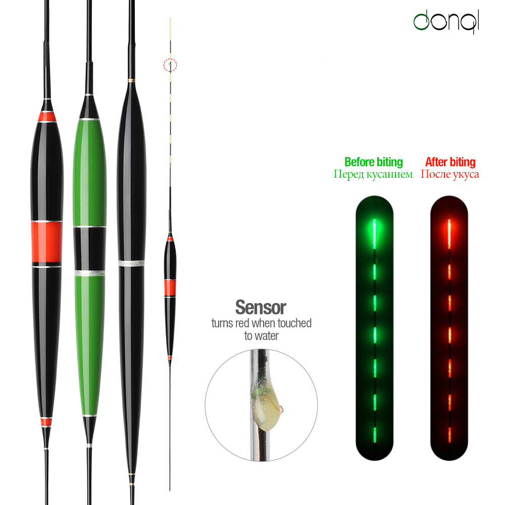 DONQL Luminous Smart LED Fishing Float High Sensitivity Alarm Fish Bite Color Change Electronic Buoy Fish Floating Bobber Stick