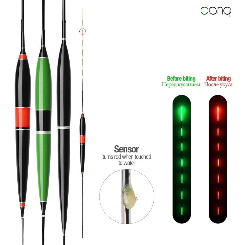 DONQL Luminous Smart LED Fishing Float High Sensitivity Alarm Fish Bite Color Change Electronic Buoy Fish Floating Bobber Stick