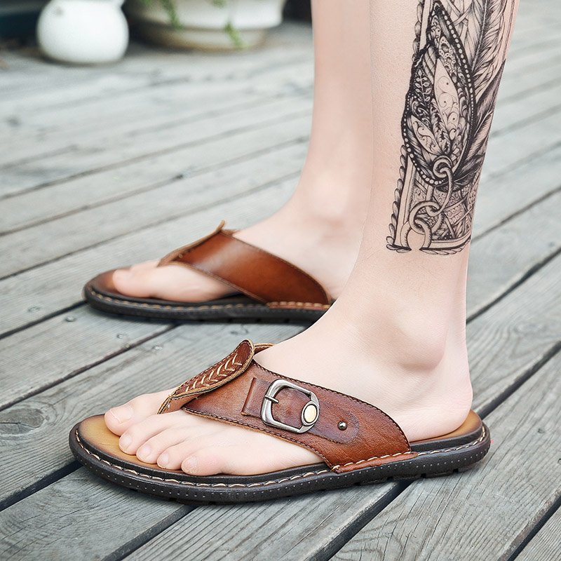2019 new summer men 39 s slippers casual genuine leather shoes male flip flops beach slipper man outdoor slipppers for men hot sale in Flip Flops from Shoes
