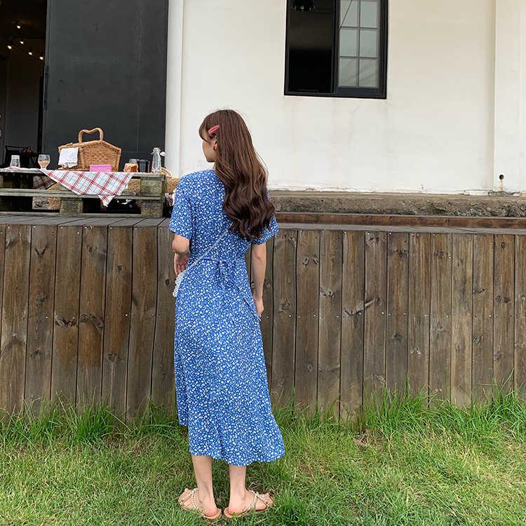 Cuello en V Vintage Floral único Breasted Vestido de manga corta de las mujeres encantador vestidos dulce Harajuku ropa Punk para mujeres