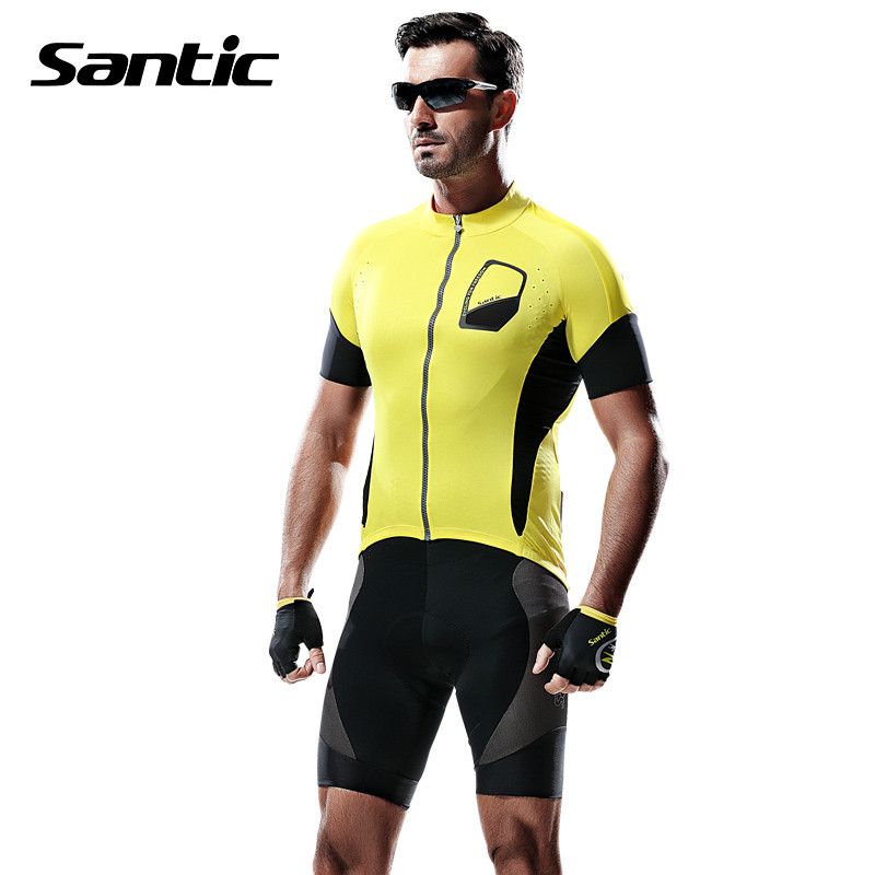 Santic Summer Mens Short Sleeve Cycling Jersey MTB Road Mountian Bike Jersey Downhill Breathable Racing Bicycle Clothing T Shirt