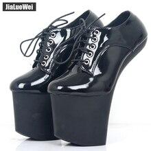 jialuowei Women Platform Shoes Extreme High Heelless Women's Pumps Strange Hoof Sexy BDSM Lace Up Patent Unisex Shoes Plus Size