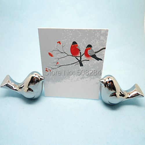 love birds wedding place card holder brushed silver placecard photo frame
