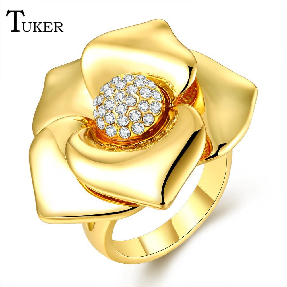 cz engagement ring women popular creative flowers crystal point drill wedding rings prong setting female cubic - Creative Wedding Rings