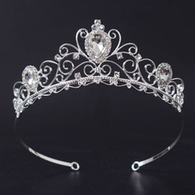 New Trendy Noble Clear Rhinestone Bridal headband Fashion Silver hair band for Women Wedding Crown Hair jewelry accessories