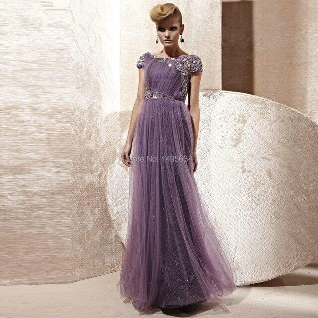 TOP QUALITY Purple Wedding Dress Bride Long Chiffon Dress Hollywood Design  Party Dress PLUS SIZE