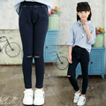 2017 spring and autumn fashion classic children's jeans girls 4-13 solid color self-cultivation hole flexible children'