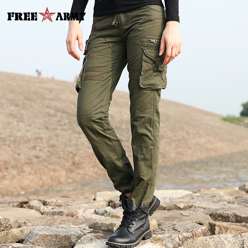 Fashion Women s Multi pocket Loose Casual Pants Outside Tooling Army Green Military Trousers Straight Womens