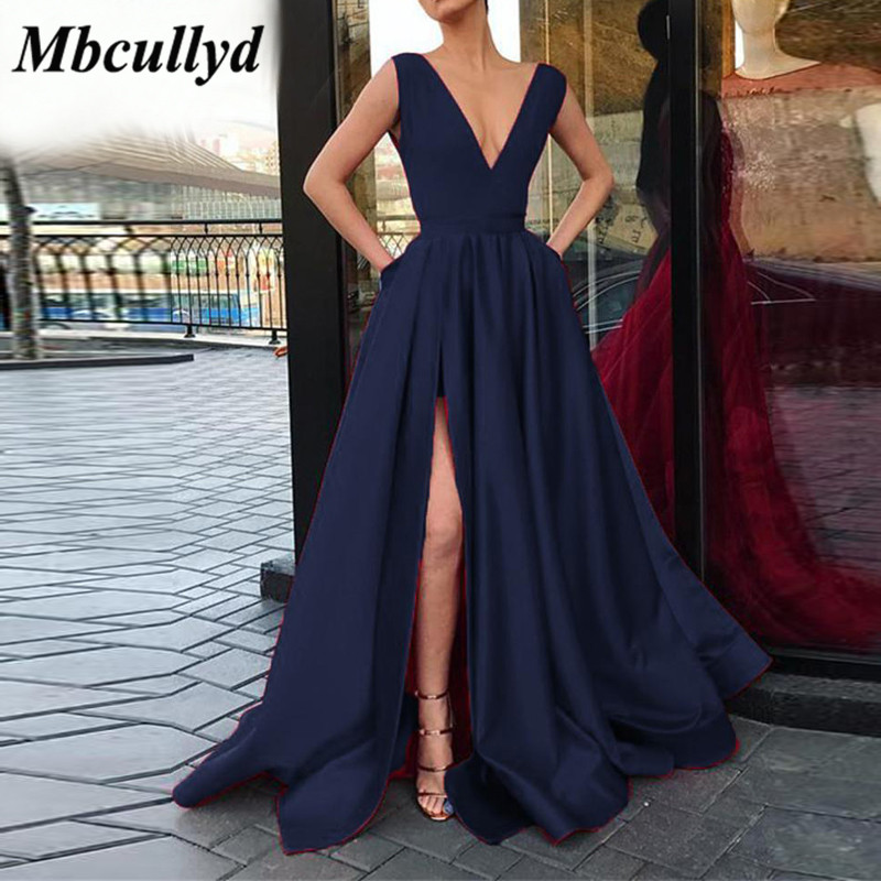 Mbcullyd Navy Blue Satin   Bridesmaid     Dress   2019 Backless V Neck A-Line Maid of Honor   Dresses   Leg Slit Prom Gowns Cheap Under 100