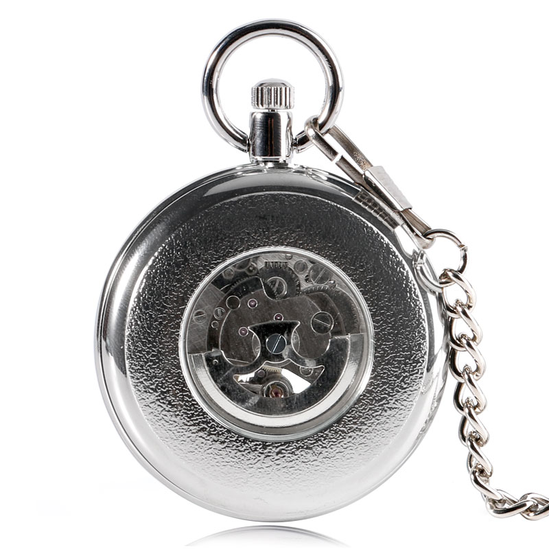 Image 5 - SHUHANG New Mechanic Watch 2017 Men Automatic Self Winding Pocket Watch Silver Simple Open Face Chain Pendant with Roman Numberpocket watch silverpocket watchpocket watch wind -