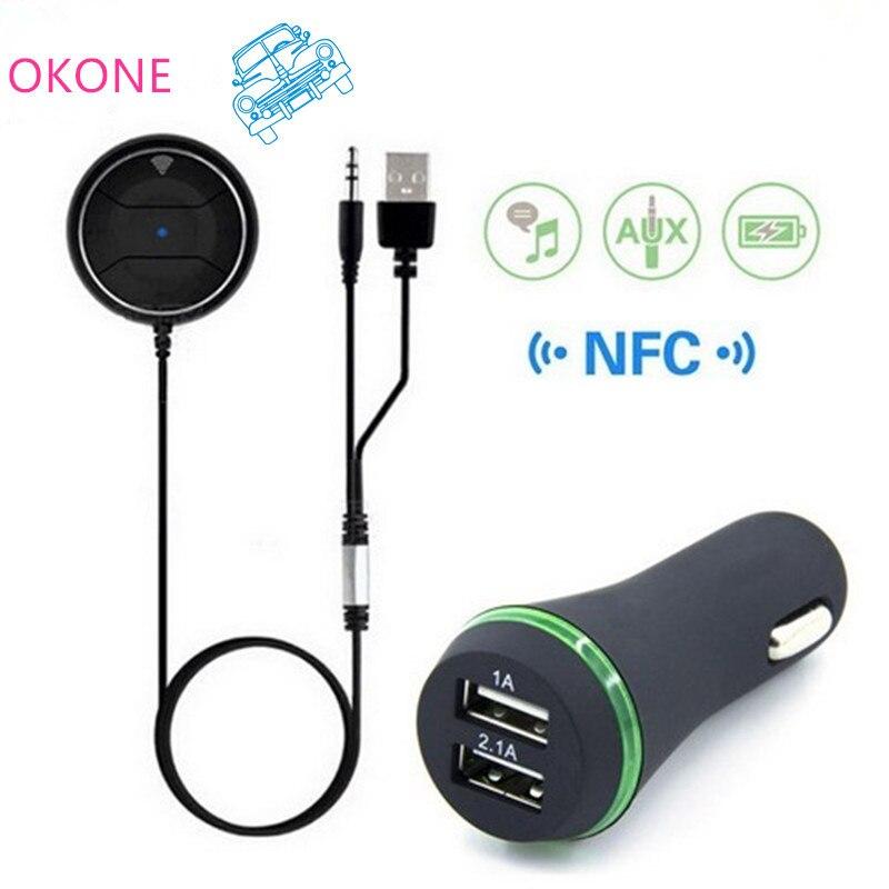 NFC Bluetooth Car Kit 3,5 mm AUX audio přijímač Bezdrátový Bluetooth 4.0 přijímač handsfree sady s mikrofonem 3.1A duální USB auto nabíječka