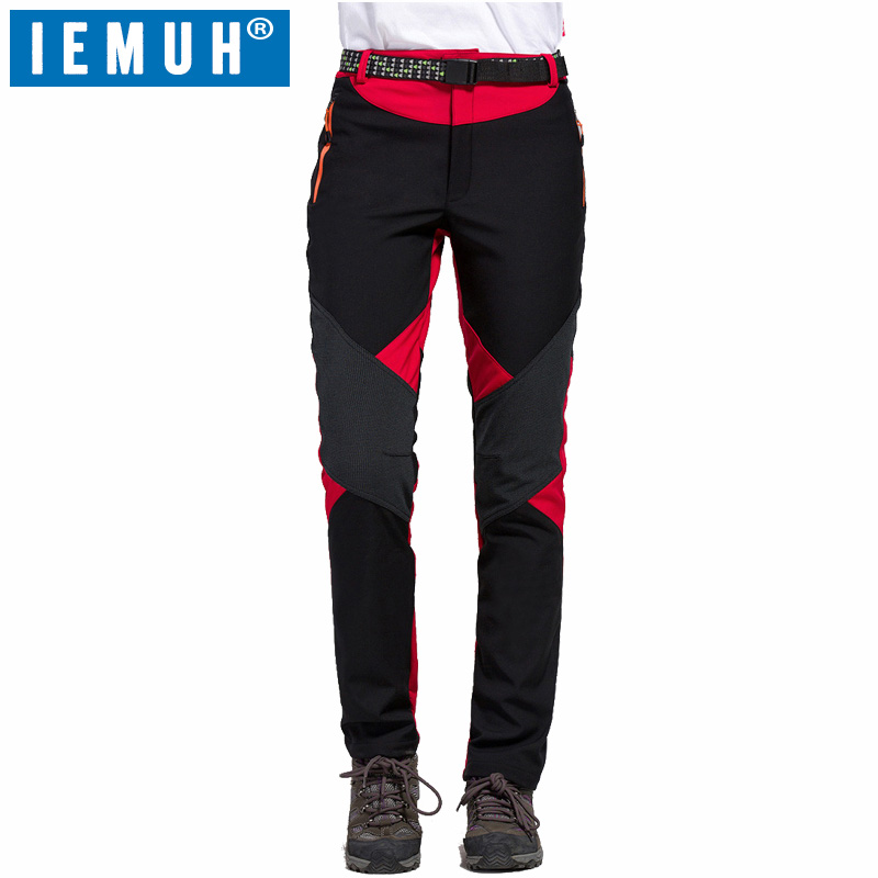 IEMUH Brand Women's Winter Fleece Softshell Thermal Pants Outdoor Sports Clothing Hiking Trekking Skiing Camping Female Trousers man waterproof fleecetreval outdoor hiking pants camping climbing trekking skiing quick dry thermal softshell trousers 5xl p16m