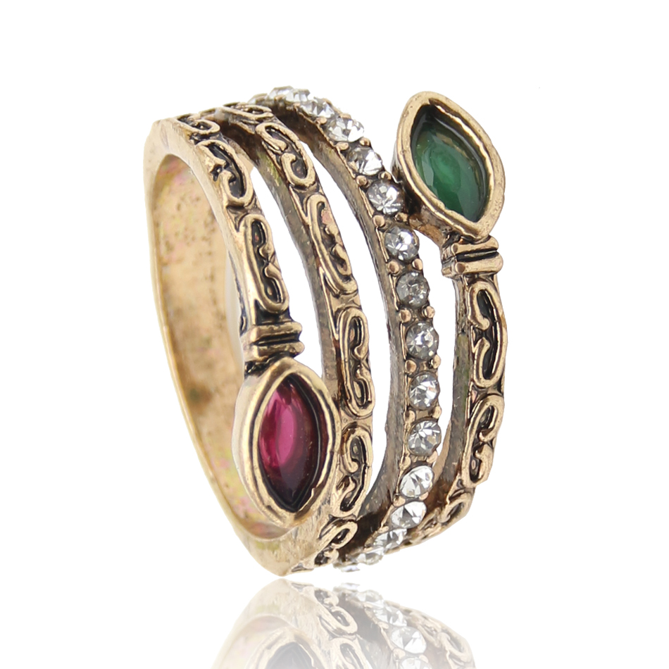classic retro turkish ring grass grain antique gold colored resin hollow carve rings indian women wedding - Indian Wedding Rings