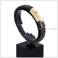 8 46 12mm 31 7g New Arrive Black Braided Jewelry Leather Rope Chain Men S Bracelet