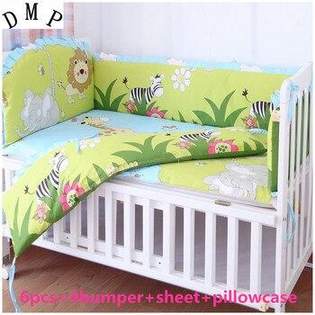Promotie! 6 stks Leeuw patroon crib bedding voor baby jongens cartoon (bumpers + sheet + kussen cover)