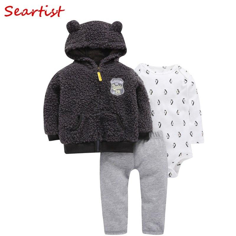 Seartist Rush Sales Baby Boy Girl Clothes Newborn 3Pcs Clothing Set Hoodies+Romper+Pants Kids Outfit Suit Boys Clothes Sets 40C