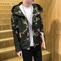 2016 Новых Прибыть Весна Осень модные уличной военный камуфляж с капюшоном мужчины куртку моды молния Случайный человек пальто