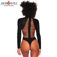 Sebowel Womens Behind Lace Up Bodysuit Backless Black Velvet Sexy Bodysuit Women Long Sleeve Striped Bodysuits