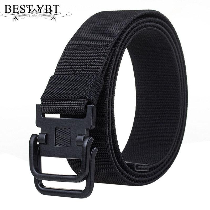 Best YBT Unisex belt fashion Weaving Nylon Alloy double ring buckle Men belt casual sport Men and Women cowboy pants belt