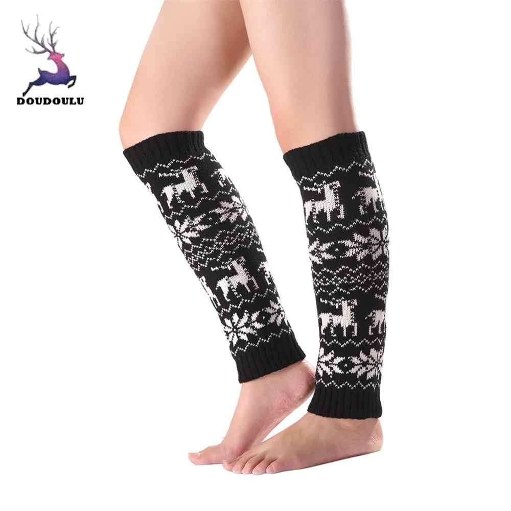 แฟชั่นผู้หญิง Elk Deer เกล็ดหิมะโครเชต์ถักรองเท้า Boot ถุงเท้าขาอุ่น skarpetki damskie ต้นขาสูงถุงน่องถุงน่องถุงน่องถุงน่องเซ็กซี่ # EW