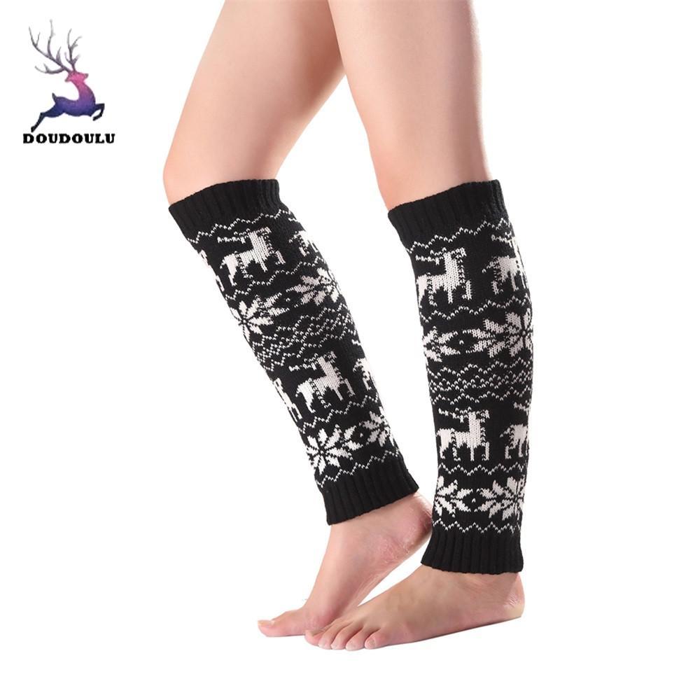 Women Thigh High Leg Warmers Long Boot Socks Christmas Elk Over Knee Stocking