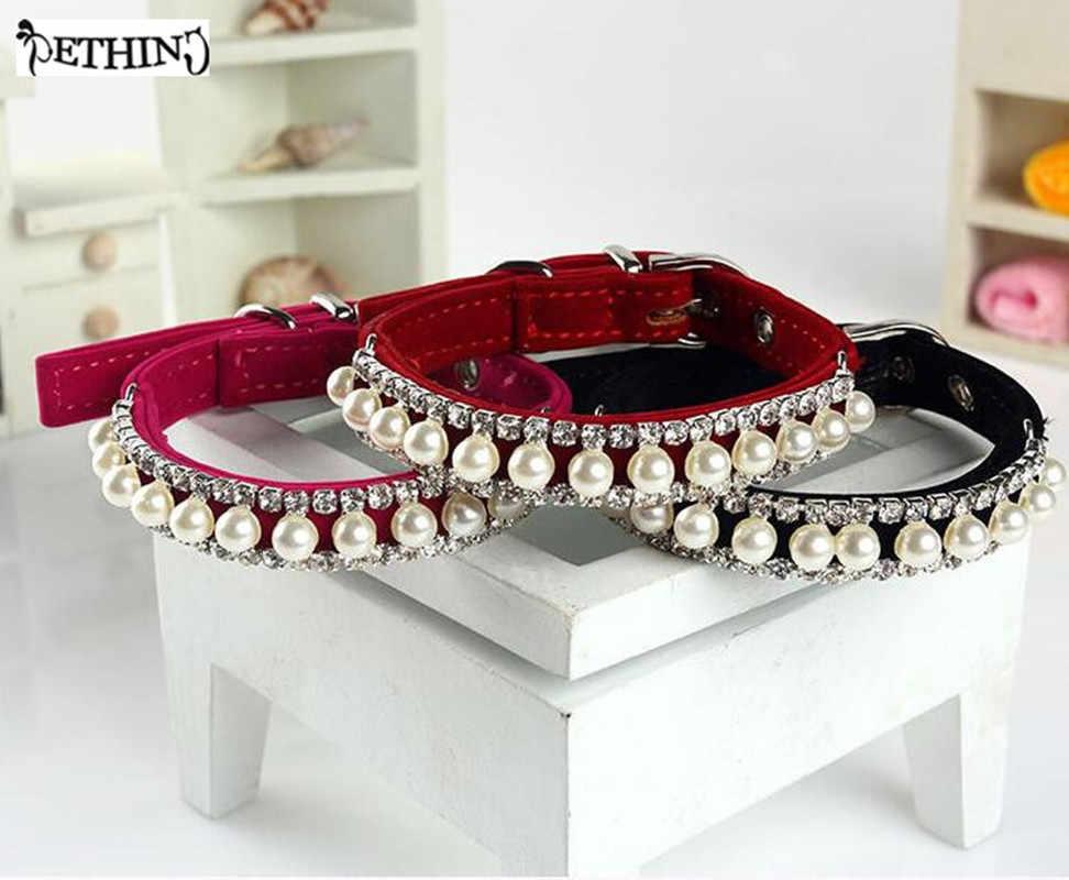 ETHIN nouveau diamant chien collier pour animaux de compagnie chiot colliers chat accessoires strass avec boucle collier de perles personnalisé pour chiens de compagnie