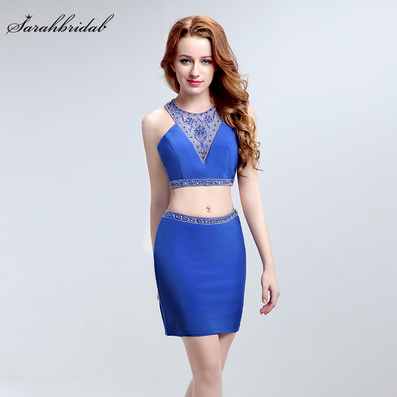 Real Photos Sexy   cocktail     dresses   with Straight jewel Illusion V Neck Lycra and Natural Crystal party Two Pieces   Dresses   LSX188