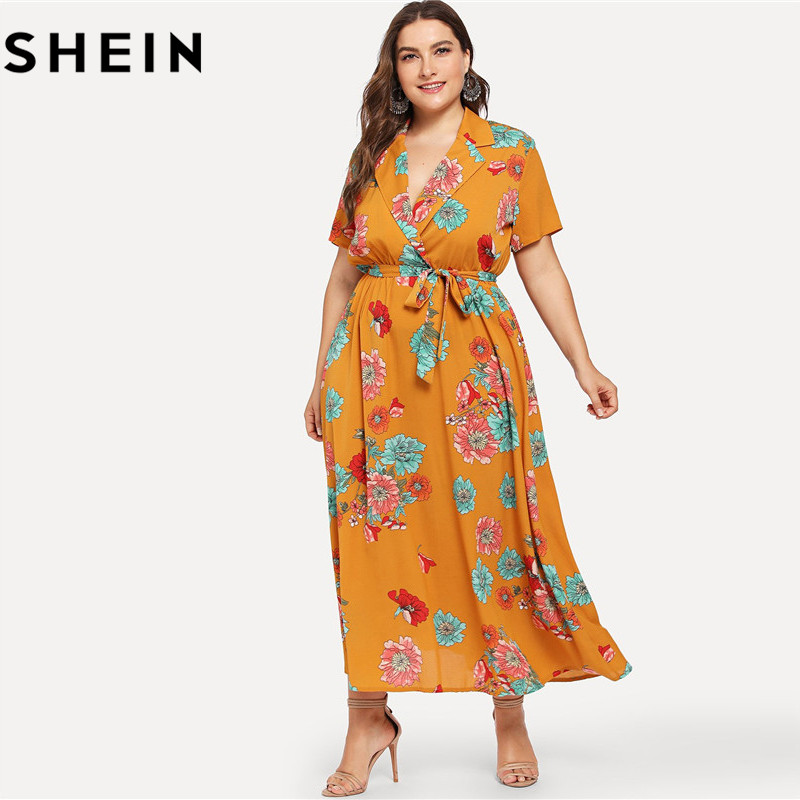 SHEIN Floral Print Bohemian V Neck High Waist Plus Size Maxi Dresses 2018 Mustard Notch Collar Belted Botanical Beach Long Dress