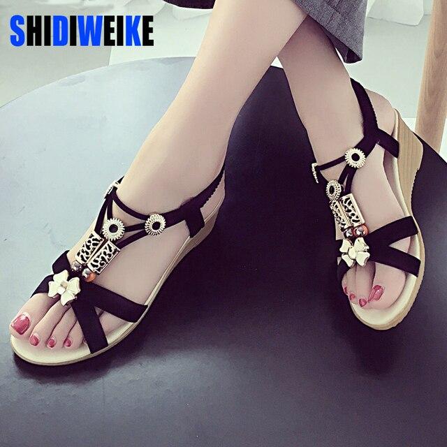 b270fd8913a75d ... Summer Fashion Flip Flops Women s Beach Sandals String Bead Black  Elastic Bands Flat Shoes Gladiator ...